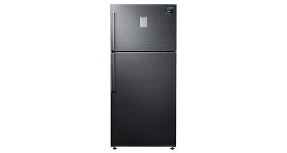 A front view of the Samsung top mounted freezer refrigerator RT50K6351BS/TC in black stainless steel.