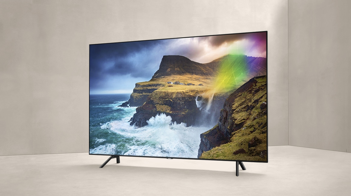 A right perspective view product image of the 2019 new Samsung QLED Q70R.