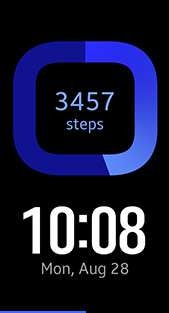 Step Count watch face in blue