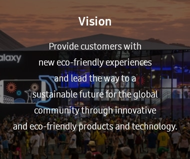"This image contains the vision under the eco-management system. The vision is ""Provide customers with new eco-friendly experiences and lead the way to a sustainable future for the global community through innovative and eco-friendly products and technology."""