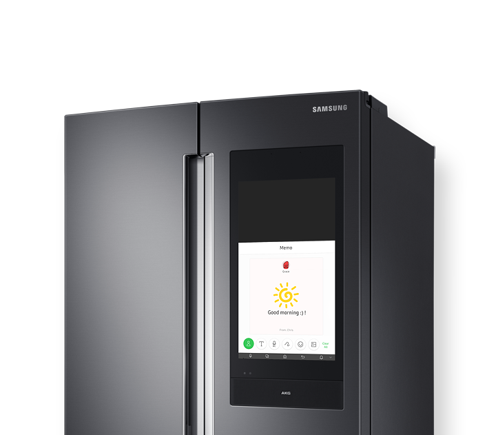 Memo is shown over a Samsung WR9900M refrigerator screen.