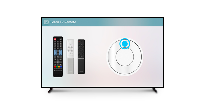 Three remotes are shown on a simulated Learn TV Remote window. To the right, an illustrative guide shows how to use the buttons.