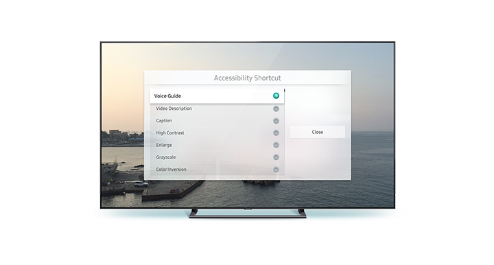 The Accessibility Shortcuts menu lists various Accessibility features.