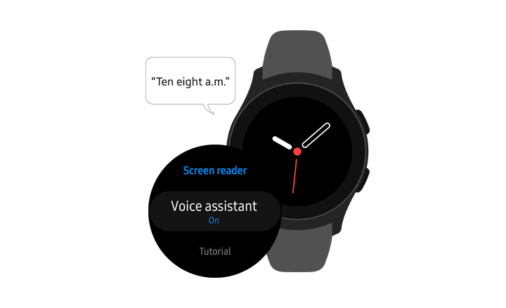 "The Voice assistant menu option in being turned On. Using the function to indicate ""Ten eight a.m"" through voice message."