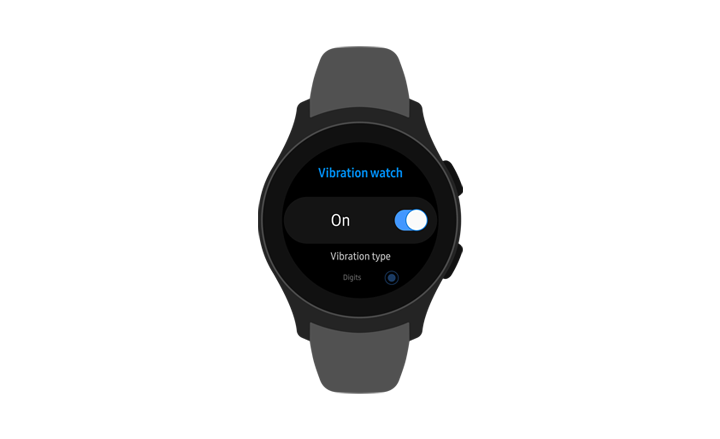 A front view of the Galaxy Watch showing the Vibration watch menu option turned On.