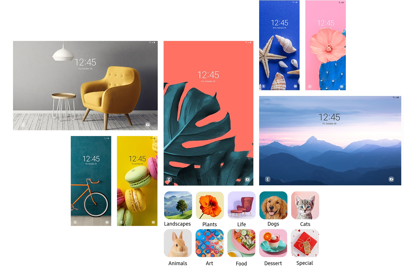 Seven different Galaxy device lock screens, in different sizes, are laid out. They all show different images from different themes. On the bottom, thumbnail icons of 10 different image categories are also laid out to show the diverse options of images provided by Dynamic Lock screen.