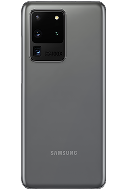 Galaxy S20 Ultra in Cosmic Gray, seen from the rear