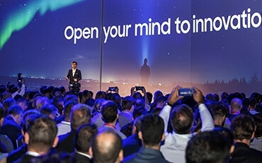 "HS Kim, President and CEO of Consumer Electronics Division, set the stage for the exciting announcements to ""open your mind to the power of Samsung innovation."""