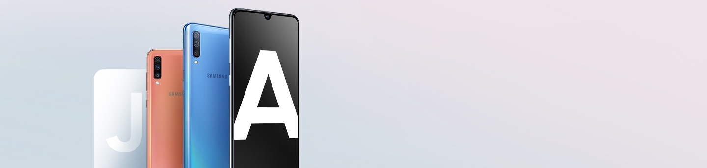 New Galaxy A devices in front of a faded letter J.