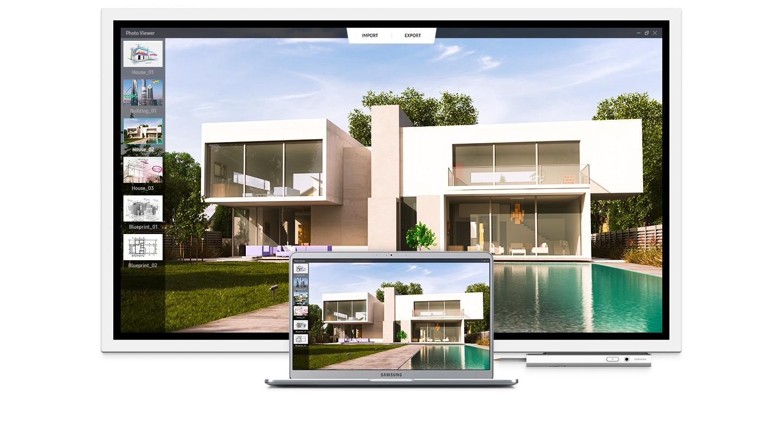 Zdjęcie prezentujące te same obrazy wyświetlane na Samsung Flip i na laptopie Samsung. Ekran laptopa zmienia się wraz z pojawieniem się nowego obrazu na ekranie Samsung Flip.