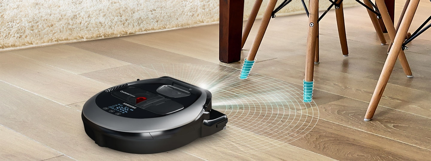 An image showing a POWERbot VR7000 device detecting thin table legs in a living room with its FullView Sensor™ 2.0 function.