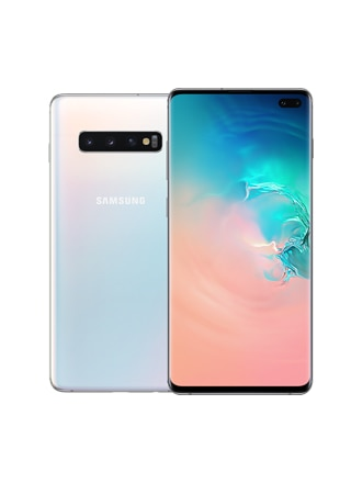 Back of a prism white Galaxy S10+ phone, with the front of a black Galaxy S10+ phone slightly overlaying on top