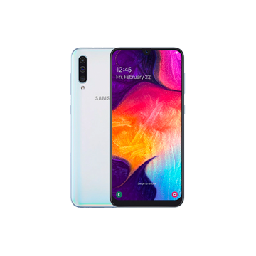 Galaxy A50 in White, front and back views.