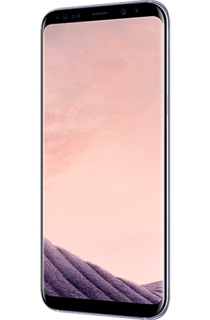 Angled right view of Galaxy S8+ in Orchid gray