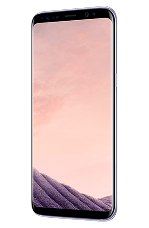 Angled right view of Galaxy S8 in Orchid gray