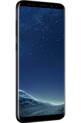 Angled left view of Galaxy S8+ in Midnight Black