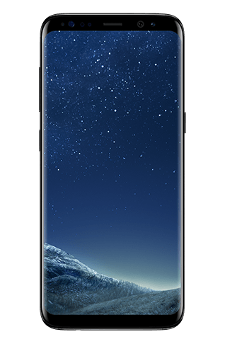 Front view of Galaxy S8 in Midnight Black