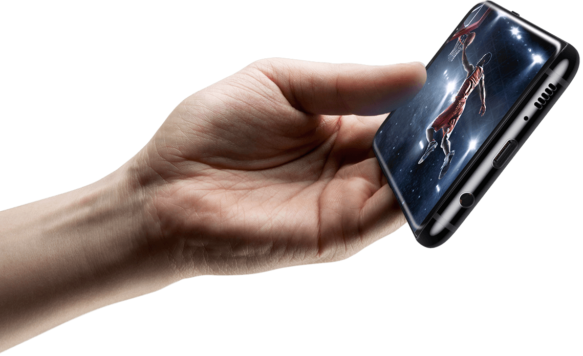 Galaxy S8 being held in landscape mode with video being played on screen