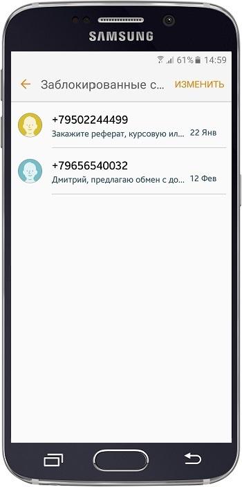 Список заблокированных сообщений
