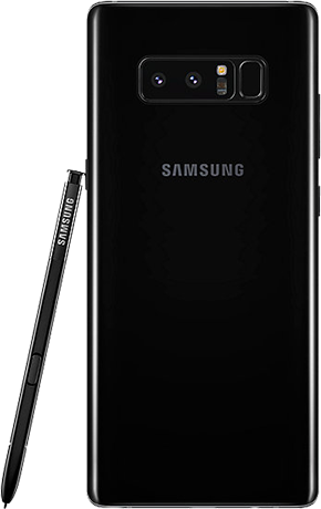 Angled left view of Note8 in Midnight Black