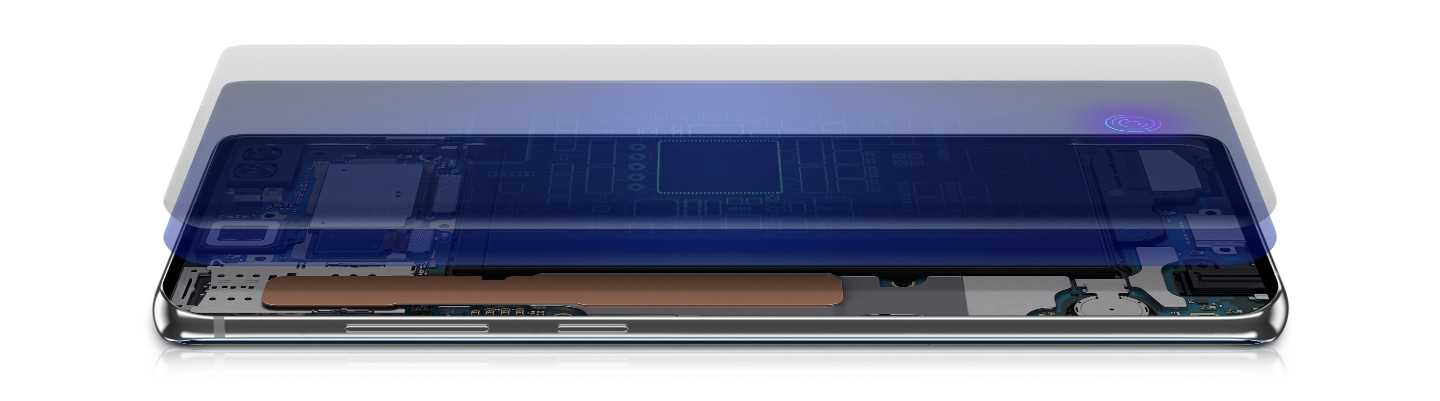 Galaxy S10 plus in landscape mode seen at an angle from the left side, the screen is shown floating above the device with the Ultrasonic Fingerprint Sensor icon onscreen. Below is an illustrated representation of the software and hardware inside.