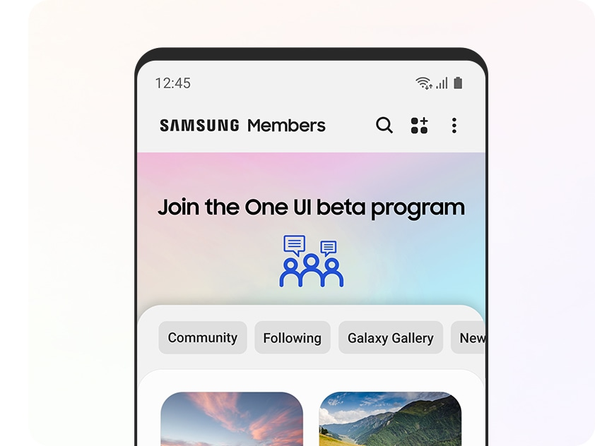 The upper half of a Galaxy smartphone with the Samsung Members app onscreen. The top banner says Join the One UI beta program.