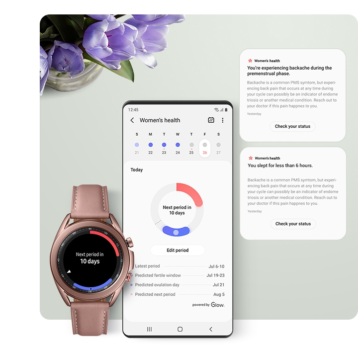 A smartphone GUI screen and a Galaxy Watch show women's menstrual cycle tracking information in the Samsung Health app.