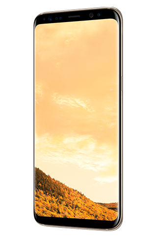 Angled right view of Galaxy S8 in Maple Gold