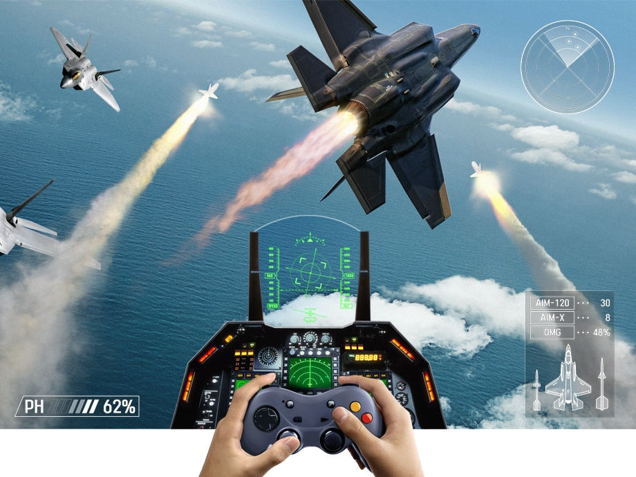 Hands holding a video game controller and playing a flight simulation game on Super Big TV. Samsung Premium UHD TV with low input lag provides the best gaming experience for players.