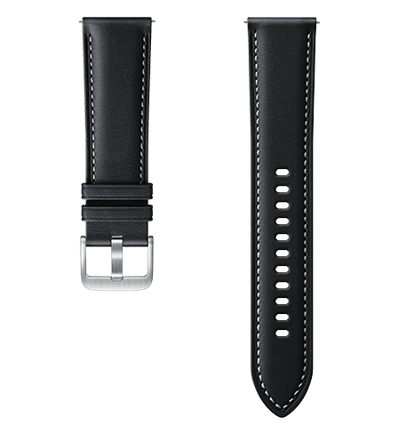 22mm Black Stich Leather Band