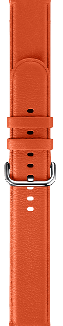 leather type orange color strap