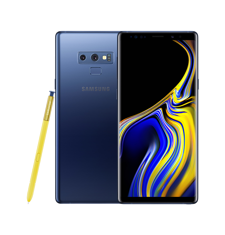 Ocean Blue Galaxy Note9 standing with a blue and yellow swirl design onscreen, and yellow S Pen leaning against it.