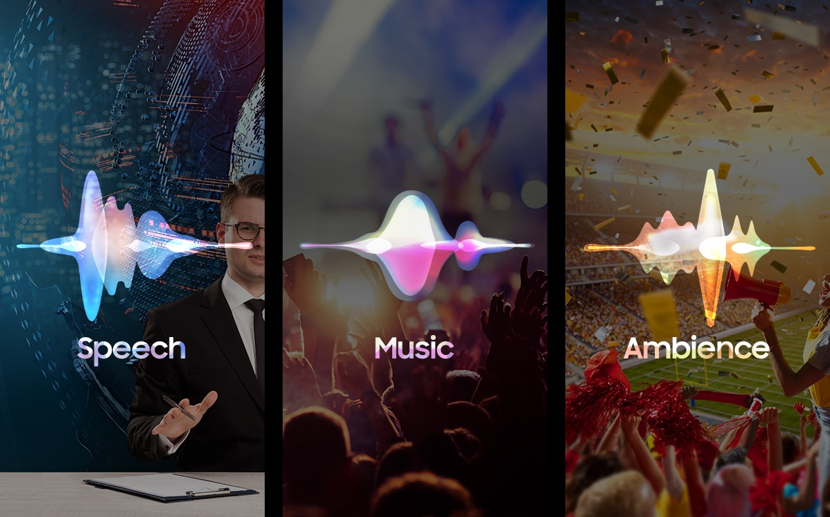 Scenes displaying the news, a concert, and the ambience of a lively sporting event are shown through visual sound waveforms, demonstrating how the 2019 new Samsung QLED TV provides optimized sound for all video content.