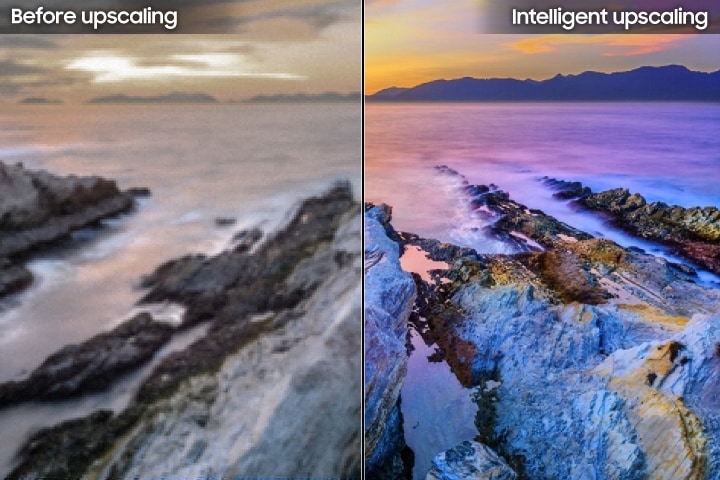 A comparison of the detail before and after the Intelligent Upscaling. The right side of the screen is the enhanced detail on Samsung Super Big TV.