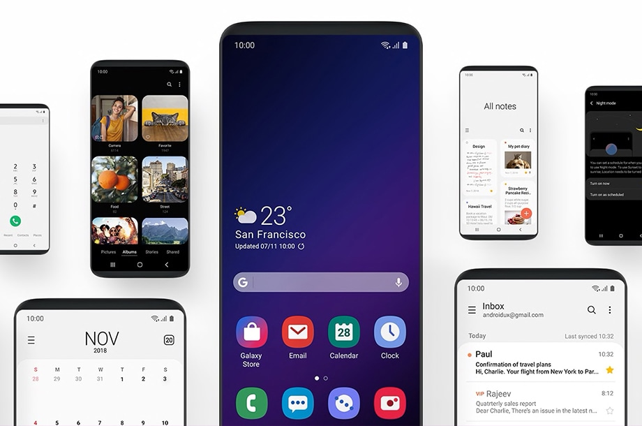 Various Samsung S9 phones showing various native apps