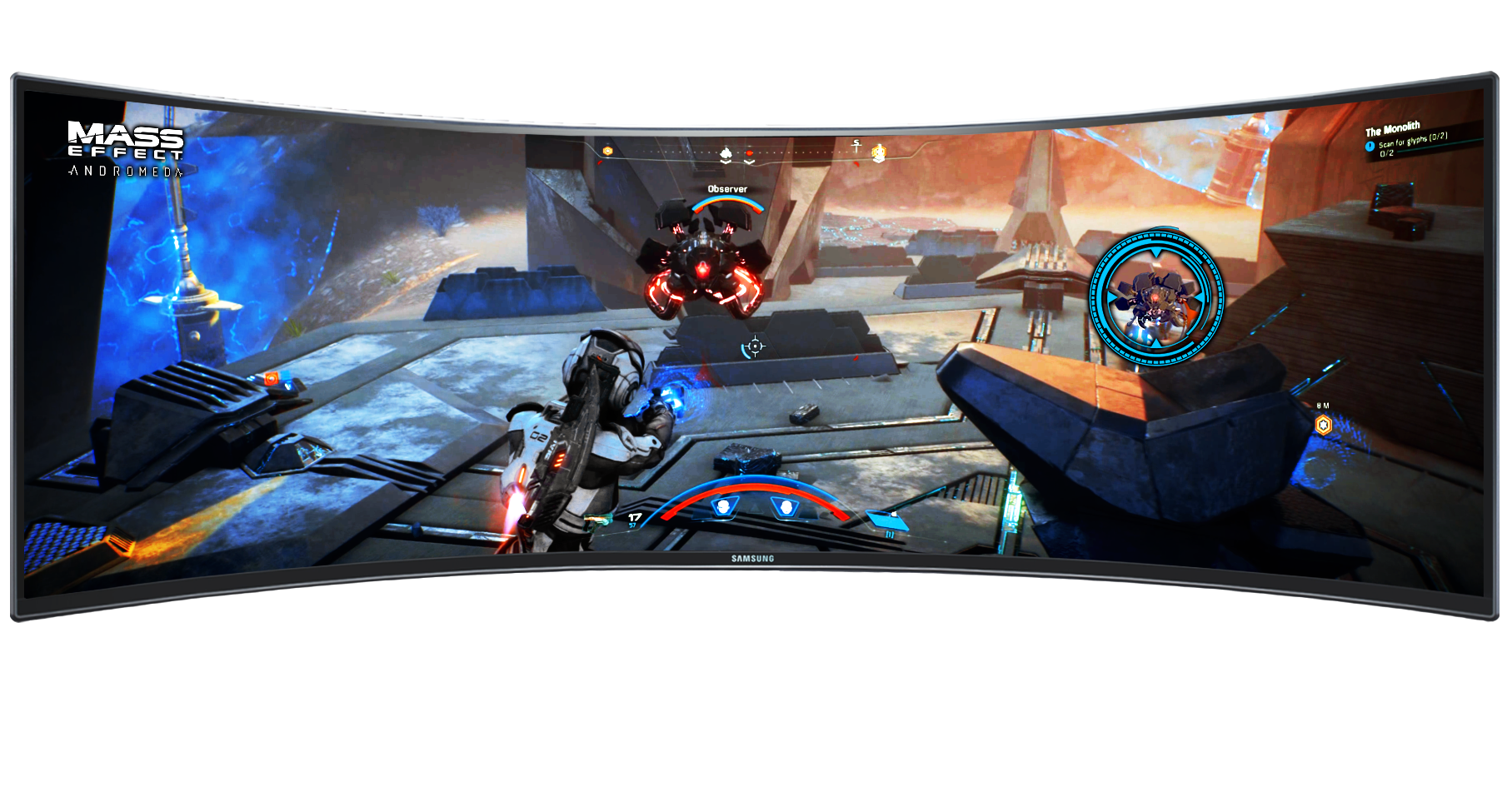 Motion image comparing conventional monitor's 16:9 screen ratio with 32:9 of Samsung QLED gaming monitor.