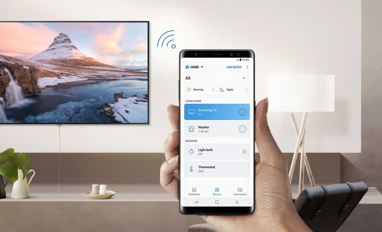 Connecting mobile phone to Smart TV via SmartThings app with Wi-Fi icon.