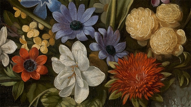 Juan van der Hamen Still Life with Artichokes, Flowers and Glass Vessels. Detail (1627)
