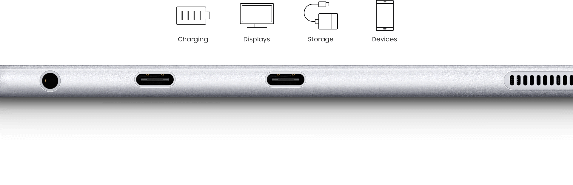 An image showing the side of a Galaxy Book 12 device, displaying its earphone and USB-C ports. At the bottom of the image, USB-C is written in large text. On the top are charging, displays, storage and devices icons.