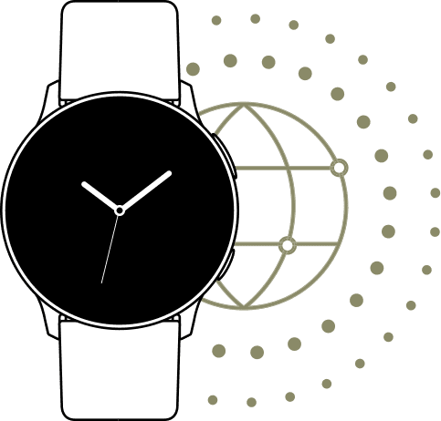 A line drawing of a Galaxy Watch active2 watch with a faint globe icon just behind indicating that it can be set up for use in multiple countries throughout the world.