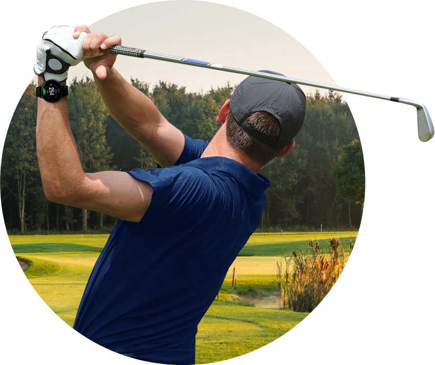 Man seen from the back practicing his golf swing while wearing the Galaxy Watch Active2 Golf Edition. A close-up of the watch is next to the image, with close-ups of the dual arc, touch targeting, shot history, and course information UI screens below.