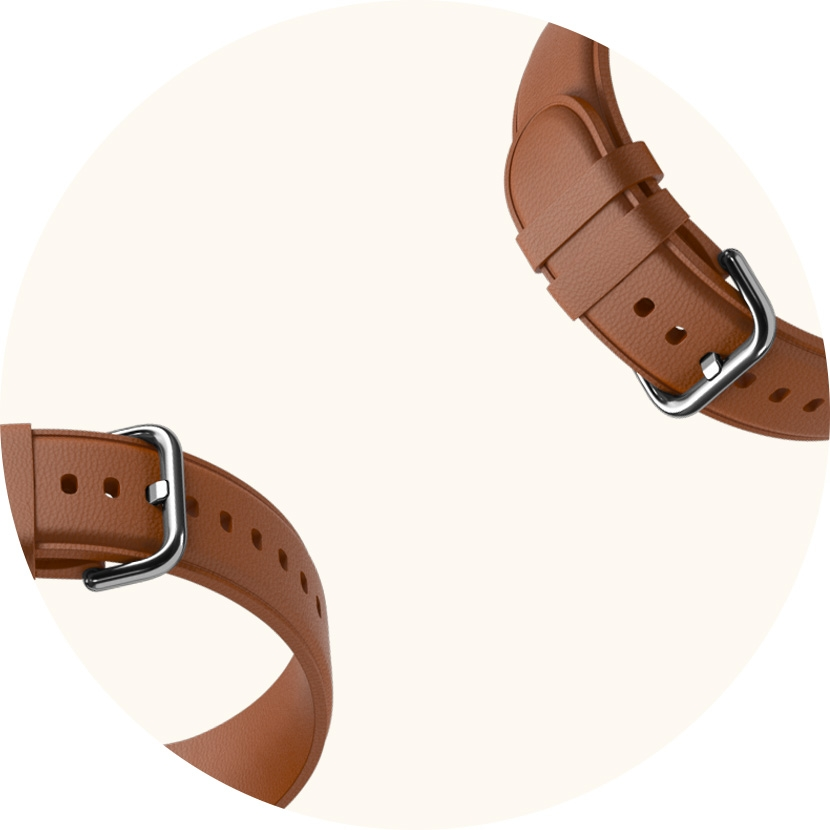 A Galaxy Watch Active2 watch strap that turns into a brown leather strap with a QR code to the left that when scanned changes the watch face into a design matching it.