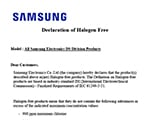 Samsung Semiconductor Global Compliance, Letter of Declaration, Halogen Free