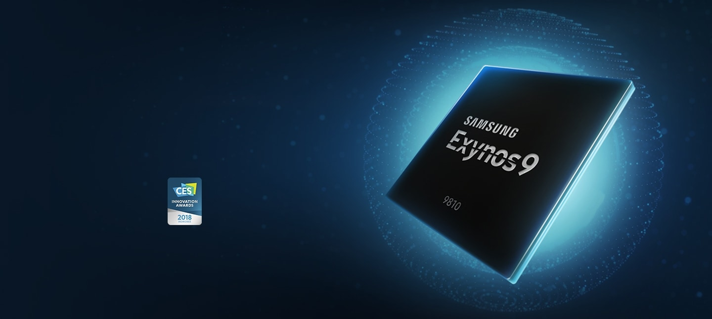 Angled side view of Exynos 9 Series (9810) processor shine in blue along with CES Innovation Awards 2018 Honoree logo