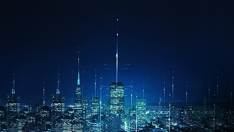 A collage image of the cityscape and the circuit board along with lights of data transmission.
