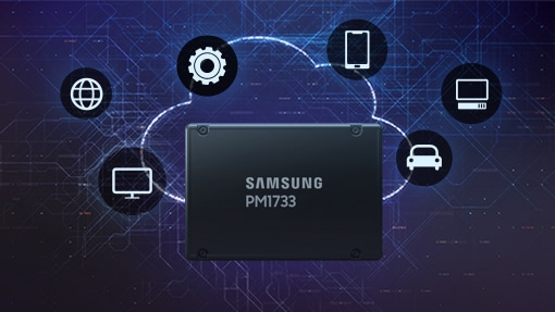 An illustrative image of cloud computing with PCIe Gen4-based PM1733 SSDs.