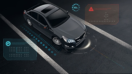 An illustrative image of semiconductor solutions featuring foundational components for autonomous cars.