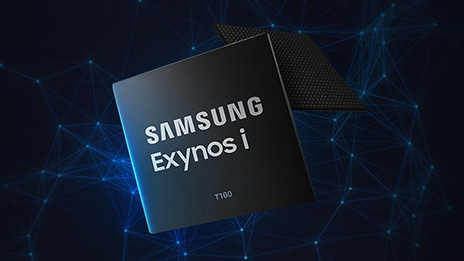 SAMSUNG Exynos i T100 against an image of wired lines connected to dots to describe 5G network.