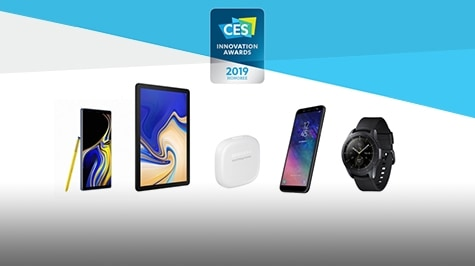 Samsung's CES® 2019 Innovation award-winning products; Samsung Galaxy Note9, Samsung Galaxy Tab S4, SmartThings Tracker, Samsung Galaxy A6, Samsung Galaxy Watch.