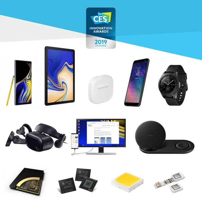 Samsung's CES® 2019 Innovation award-winning products; Samsung Galaxy Note9, Samsung Galaxy Tab S4, Samsung Galaxy Watch, Wireless Charger Duo, Samsung DeX, SmartThings Tracker, HMD Odyssey +, Samsung Galaxy A6, Samsung 256GB 3DS DDR4 RDIMM, Samsung 512GB Universal Flash Storage, Samsung 3.84TB NVMe Z-SSD, Samsung LM302S, Samsung SSM-U Series.